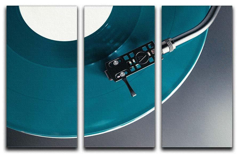 Blue Turntable 3 Split Panel Canvas Print - Canvas Art Rocks - 1
