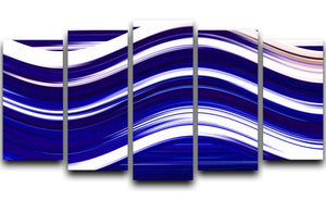 Blue Wave 5 Split Panel Canvas - Canvas Art Rocks - 1