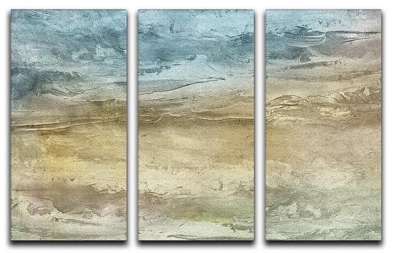 Blue and Grey Painting 3 Split Panel Canvas Print - Canvas Art Rocks - 1