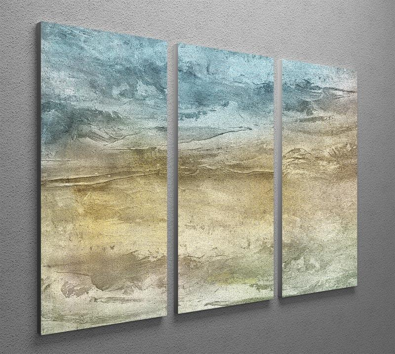 Blue and Grey Painting 3 Split Panel Canvas Print - Canvas Art Rocks - 2