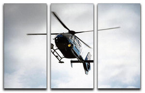 Blue and silver police helicopter flying above 3 Split Panel Canvas Print - Canvas Art Rocks - 1