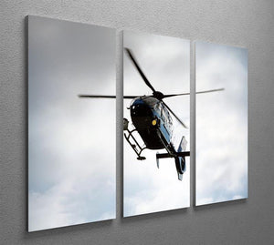 Blue and silver police helicopter flying above 3 Split Panel Canvas Print - Canvas Art Rocks - 2