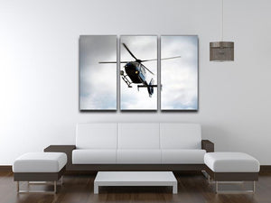 Blue and silver police helicopter flying above 3 Split Panel Canvas Print - Canvas Art Rocks - 3