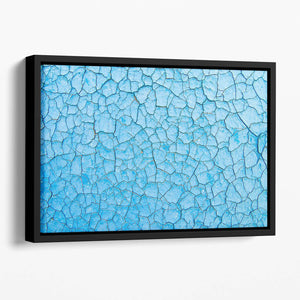 Blue cracked paint Floating Framed Canvas