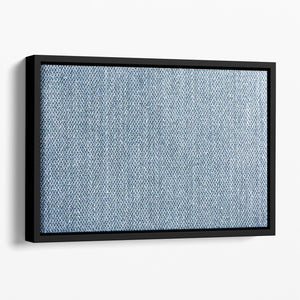 Blue denim texture Floating Framed Canvas - Canvas Art Rocks - 1