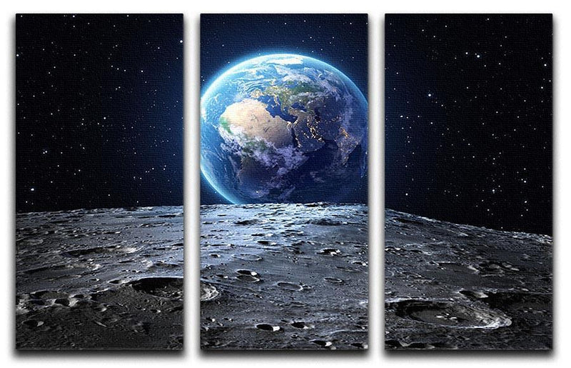 Blue earth seen from the moon surface 3 Split Panel Canvas Print - Canvas Art Rocks - 1