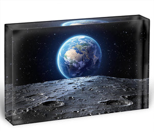 Blue earth seen from the moon surface Acrylic Block - Canvas Art Rocks - 1