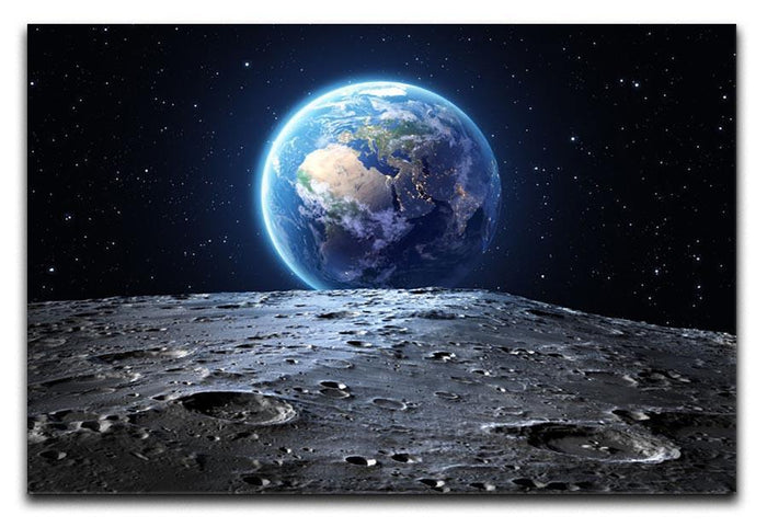 Blue earth seen from the moon surface Canvas Print or Poster