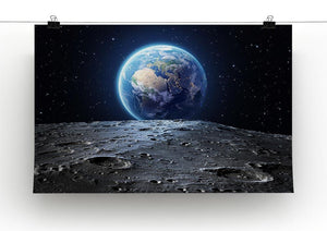 Blue earth seen from the moon surface Canvas Print or Poster - Canvas Art Rocks - 2