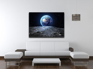 Blue earth seen from the moon surface Canvas Print or Poster - Canvas Art Rocks - 4