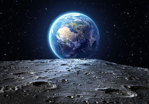 Blue earth seen from the moon surface Wall Mural Wallpaper - Canvas Art Rocks - 1