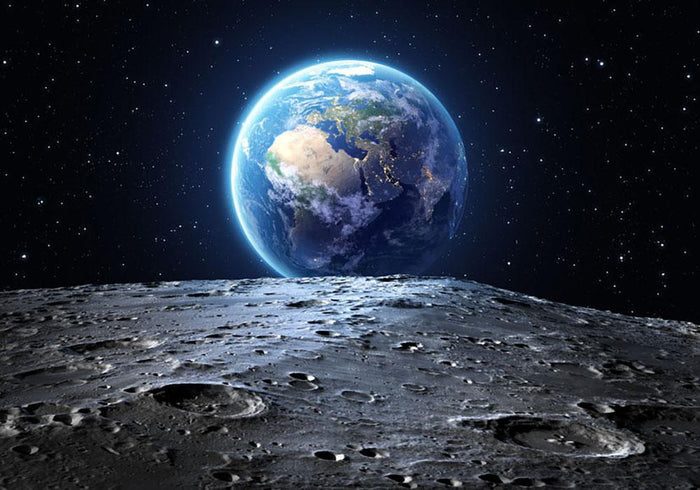 Blue earth seen from the moon surface Wall Mural Wallpaper