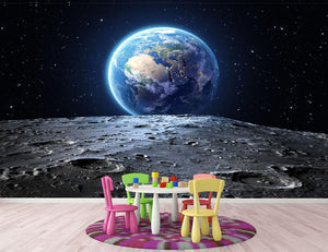Blue earth seen from the moon surface Wall Mural Wallpaper - Canvas Art Rocks - 3