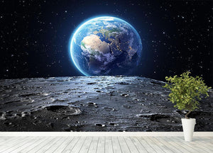 Blue earth seen from the moon surface Wall Mural Wallpaper - Canvas Art Rocks - 4