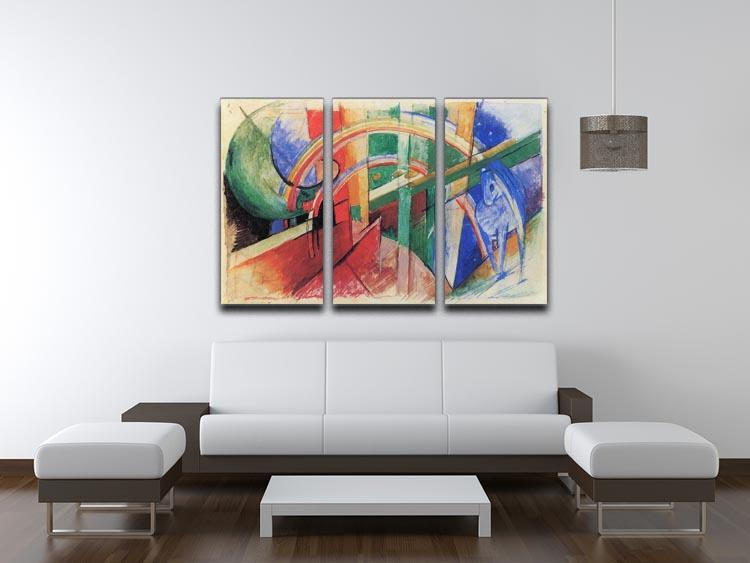 Blue horse with rainbow by Franz Marc 3 Split Panel Canvas Print - Canvas Art Rocks - 3