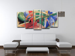 Blue horse with rainbow by Franz Marc 5 Split Panel Canvas - Canvas Art Rocks - 3