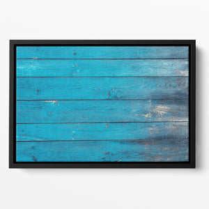Blue painted wood texture Floating Framed Canvas
