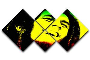 Bob Marley 4 Square Multi Panel Canvas  - Canvas Art Rocks - 1