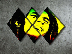 Bob Marley 4 Square Multi Panel Canvas - Canvas Art Rocks - 2