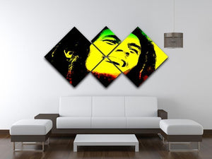 Bob Marley 4 Square Multi Panel Canvas - Canvas Art Rocks - 3
