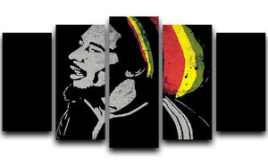 Bob Marley Stencil 5 Split Panel Canvas  - Canvas Art Rocks - 1
