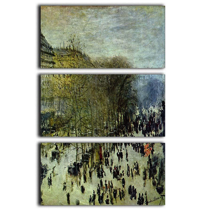Boulevard of Capucines by Monet 3 Split Panel Canvas Print