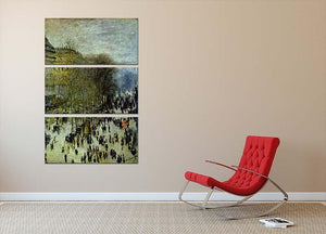 Boulevard of Capucines by Monet 3 Split Panel Canvas Print - Canvas Art Rocks - 2