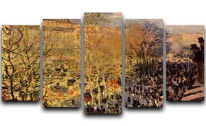 Boulevard of Capucines in Paris by Monet 5 Split Panel Canvas  - Canvas Art Rocks - 1