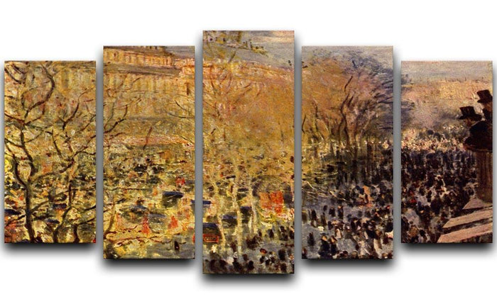 Boulevard of Capucines in Paris by Monet 5 Split Panel Canvas
