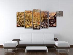 Boulevard of Capucines in Paris by Monet 5 Split Panel Canvas - Canvas Art Rocks - 3