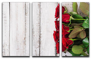 Bouquet of red roses on a light wooden background 3 Split Panel Canvas Print - Canvas Art Rocks - 1