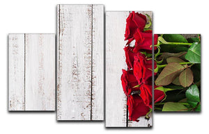 Bouquet of red roses on a light wooden background 4 Split Panel Canvas  - Canvas Art Rocks - 1