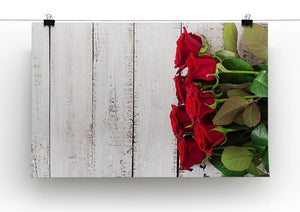 Bouquet of red roses on a light wooden background Canvas Print or Poster - Canvas Art Rocks - 2