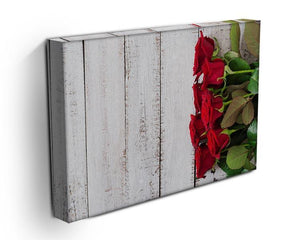 Bouquet of red roses on a light wooden background Canvas Print or Poster - Canvas Art Rocks - 3