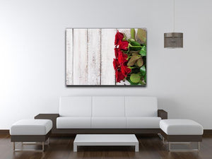 Bouquet of red roses on a light wooden background Canvas Print or Poster - Canvas Art Rocks - 4