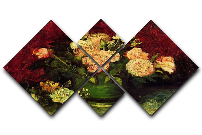 Bowl with Peonies and Roses by Van Gogh 4 Square Multi Panel Canvas
