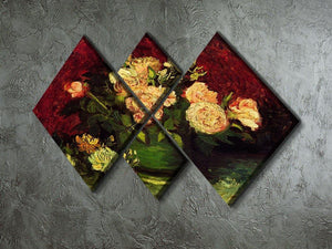 Bowl with Peonies and Roses by Van Gogh 4 Square Multi Panel Canvas - Canvas Art Rocks - 2
