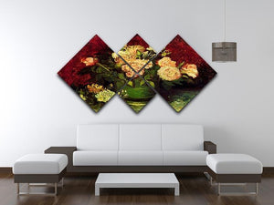 Bowl with Peonies and Roses by Van Gogh 4 Square Multi Panel Canvas - Canvas Art Rocks - 3