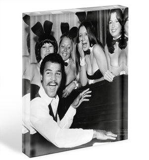 Boxer John Conteh with bunny girls at the playboy club Acrylic Block - Canvas Art Rocks - 1