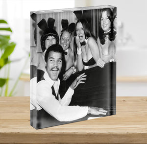 Boxer John Conteh with bunny girls at the playboy club Acrylic Block - Canvas Art Rocks - 2