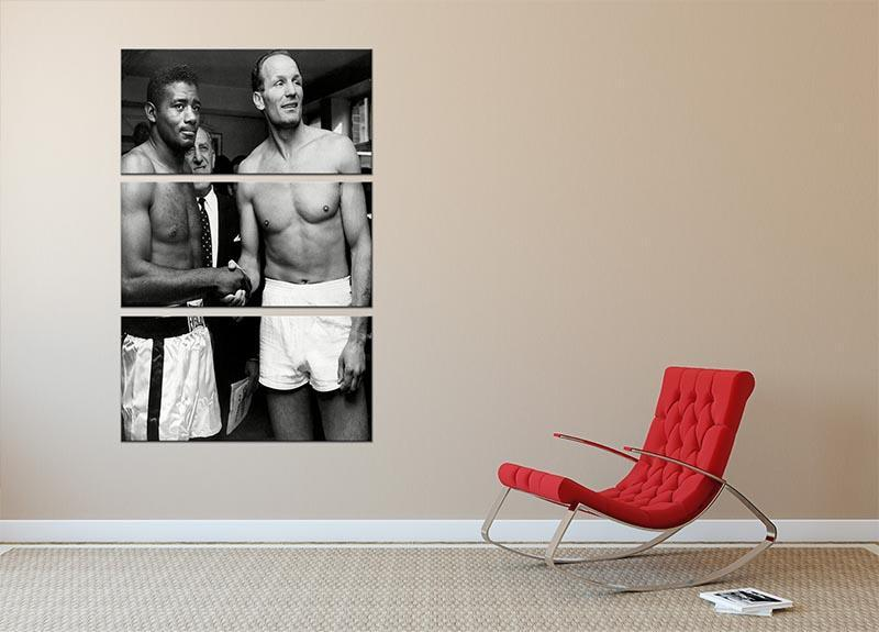 Boxers Floyd Patterson and Henry Cooper 3 Split Panel Canvas Print - Canvas Art Rocks - 2
