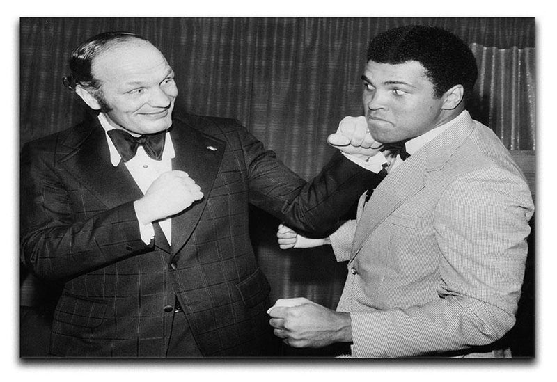Boxers Henry Cooper and Muhammad Ali Canvas Print or Poster  - Canvas Art Rocks - 1