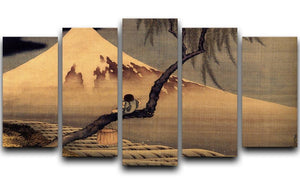 Boy in front of Fujiama by Hokusai 5 Split Panel Canvas  - Canvas Art Rocks - 1