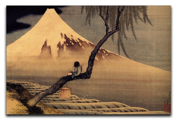 Boy in front of Fujiama by Hokusai Canvas Print or Poster