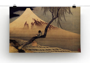 Boy in front of Fujiama by Hokusai Canvas Print or Poster - Canvas Art Rocks - 2