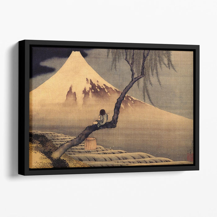 Boy in front of Fujiama by Hokusai Floating Framed Canvas