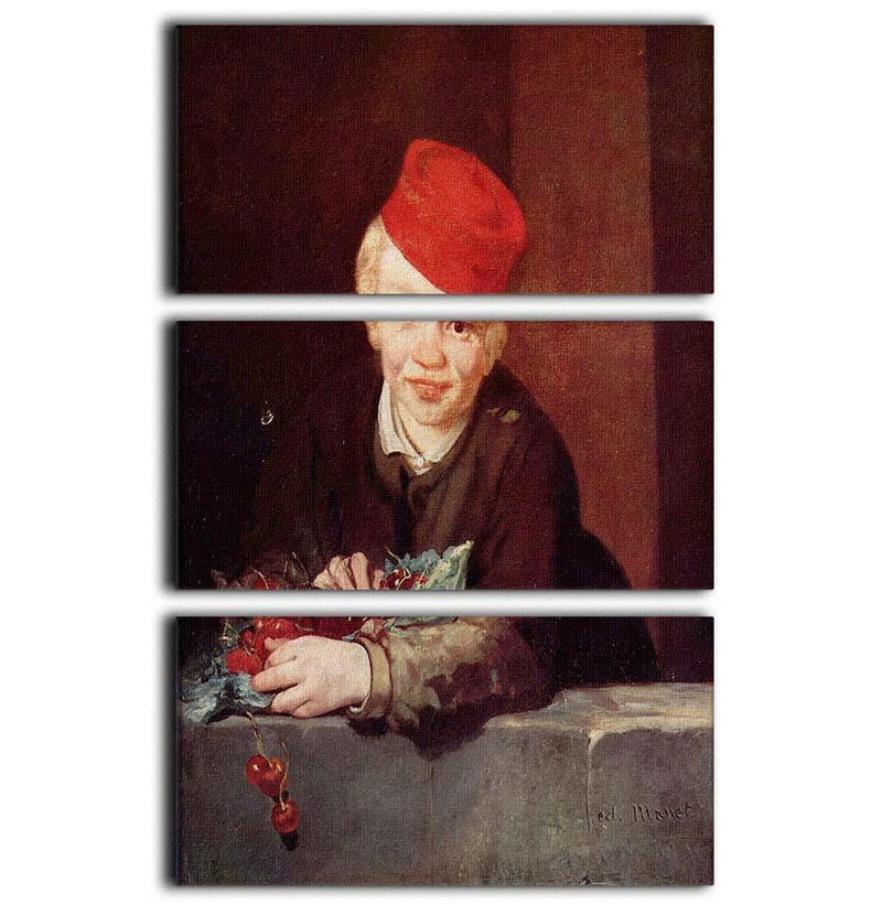 Boy with the cherries by Manet 3 Split Panel Canvas Print - Canvas Art Rocks - 1