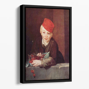 Boy with the cherries by Manet Floating Framed Canvas