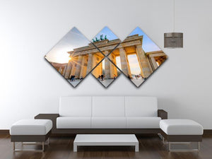 Brandenburg gate 4 Square Multi Panel Canvas  - Canvas Art Rocks - 3