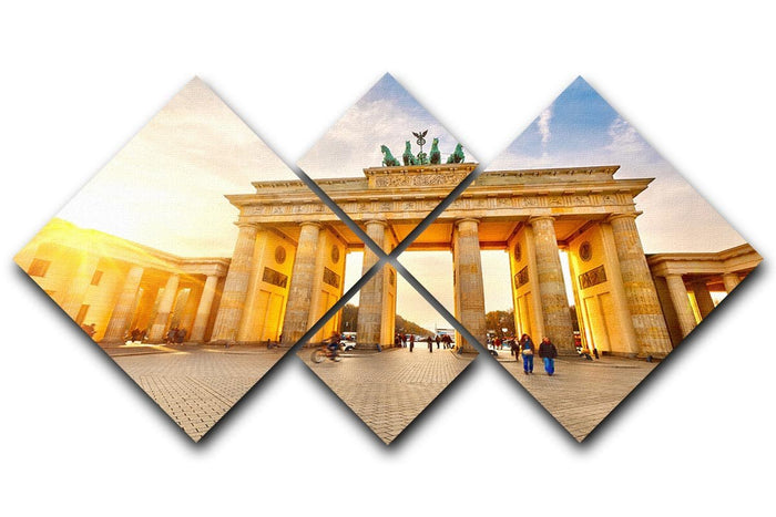 Brandenburg gate at sunset 4 Square Multi Panel Canvas